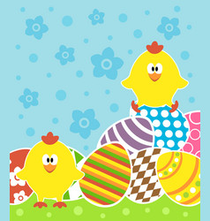 Easter background card with chickens and eggs vector