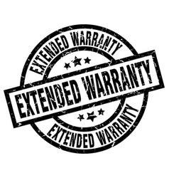 extended warranty round grunge black stamp vector image vector image