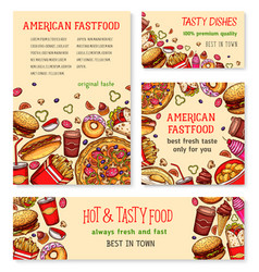 fast food banner and poster template set design vector image vector image