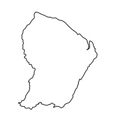 french guiana map of black contour curves on vector image