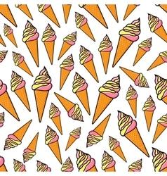 Fruity and vanilla ice cream seamlss pattern vector