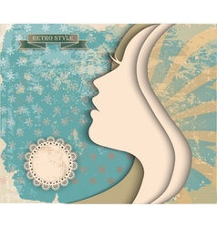Girl silhouette on vintage background vector image