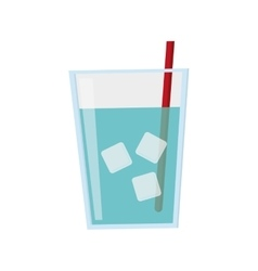 glass of water with ice and straw icon vector image