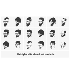 hairstyles with a beard and mustache wearing vector image vector image