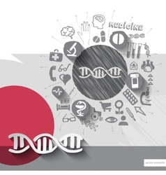 Hand drawn dna icons with icons background vector image vector image