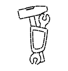 Mallet and wrench tools vector