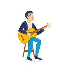 man celebrating birthday emotionally sings songs vector image
