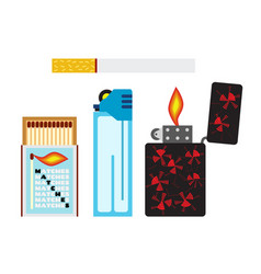 matches cigarette and two lighters flat style vector image vector image