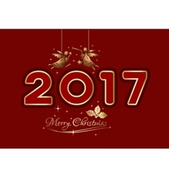 Merry christmas 2017 christmas greeting card vector