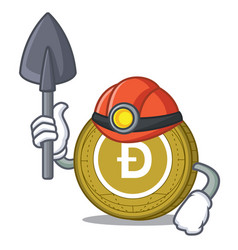 Miner dogecoin mascot cartoon style vector