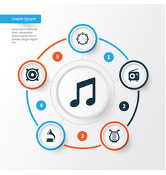 Multimedia icons set collection of tuner lyre vector