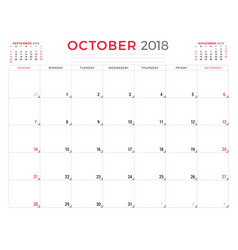 october 2018 calendar planner design template vector image vector image