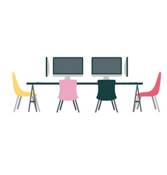 Office workplace meeting room escene icon vector