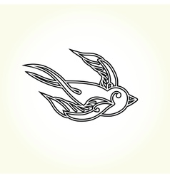 Old school swallow bird tattoo vector image