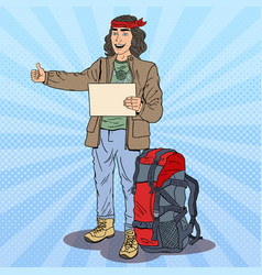 Pop art smiling hitchhiking man with backpack vector