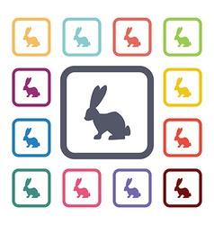Rabbit flat icons set vector