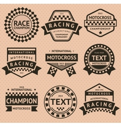 Racing insignia set vintage style vector image