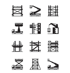 Scaffolding and construction cranes icon set vector image vector image