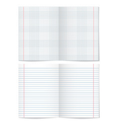 Sells and strips notebook paper sheets on white vector