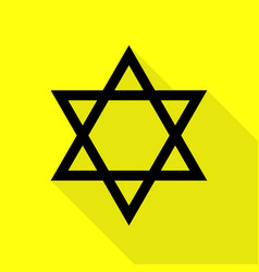 Shield magen david star symbol of israel black vector