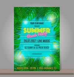 summer beach party design template season vector image vector image
