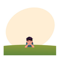 teenage boy with black hair lying on grass summer vector image