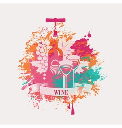 Wine and grapes vector