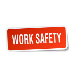 Work safety square sticker on white vector