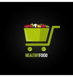 Shopping cart with healthy food design background vector