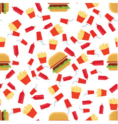 Fast food seamless pattern vector