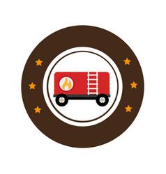 Color circular emblem with fuel trailer vector