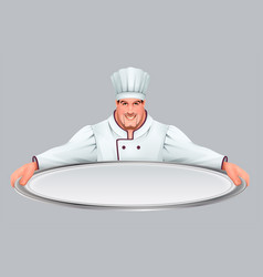 Chief cooker keeps large empty tray vector