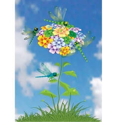 Dragonfly on a bright summer flower vector image