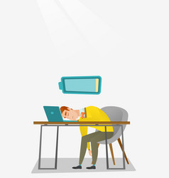 tired employee sleeping at workplace vector image