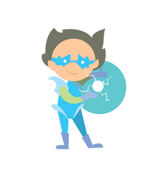 Funny super children character in flat design vector