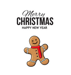 Christmas greeting card design with gingerman vector