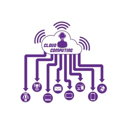 Cloud computing 3 purple vector