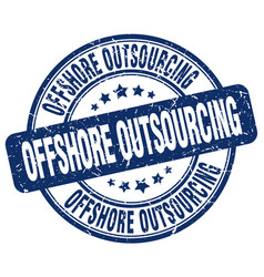 Offshore outsourcing blue grunge stamp vector