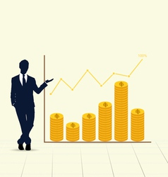 Businessman showing graph vector