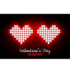 Shining pixel hearts for valentines day designs vector