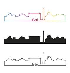 Bari skyline linear style with rainbow vector image