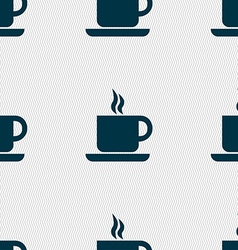 Coffee icon sign seamless pattern with geometric vector