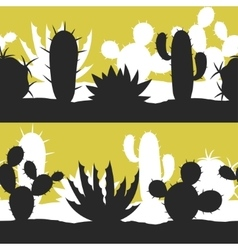 Cactuses and plants stylized natural seamless vector