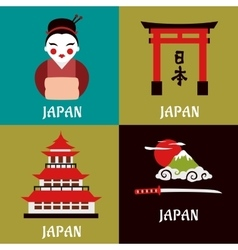 Japanese culture and religious flat icons vector