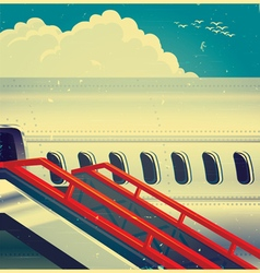 Jet airliner on retro poster vector