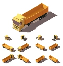 Isometric truck with tipper semi-trailer vector