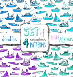 set of four seamless marine patterns vector image