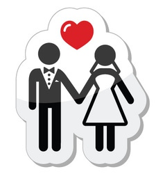 Wedding couple icon as glossy label vector image
