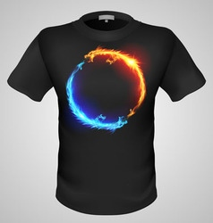 T shirts black fire print man 10 vector