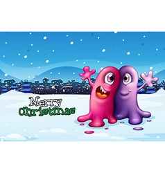 A christmas card design with two monsters vector